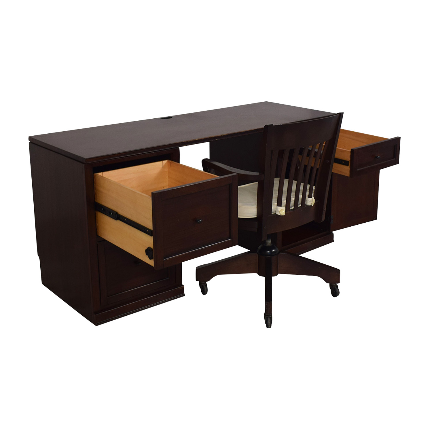 Pottery Barn Four-Drawer Desk and Chair on Castors / Tables