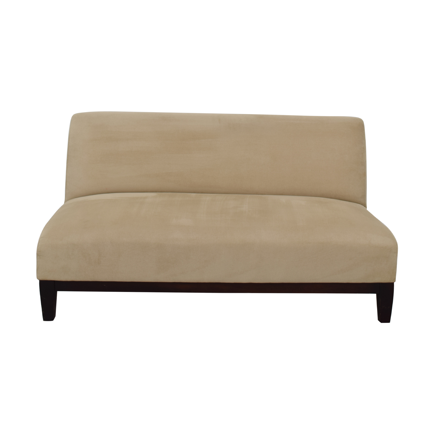 Room & Board Beige Microfiber Armless Loveseat / Loveseats