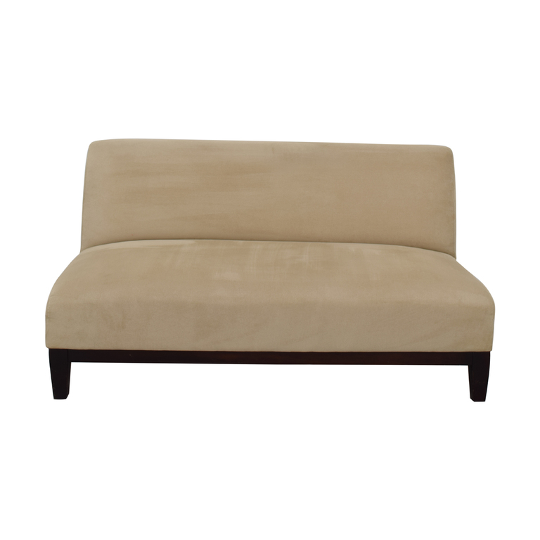 Room & Board Room & Board Beige Microfiber Armless Loveseat nyc