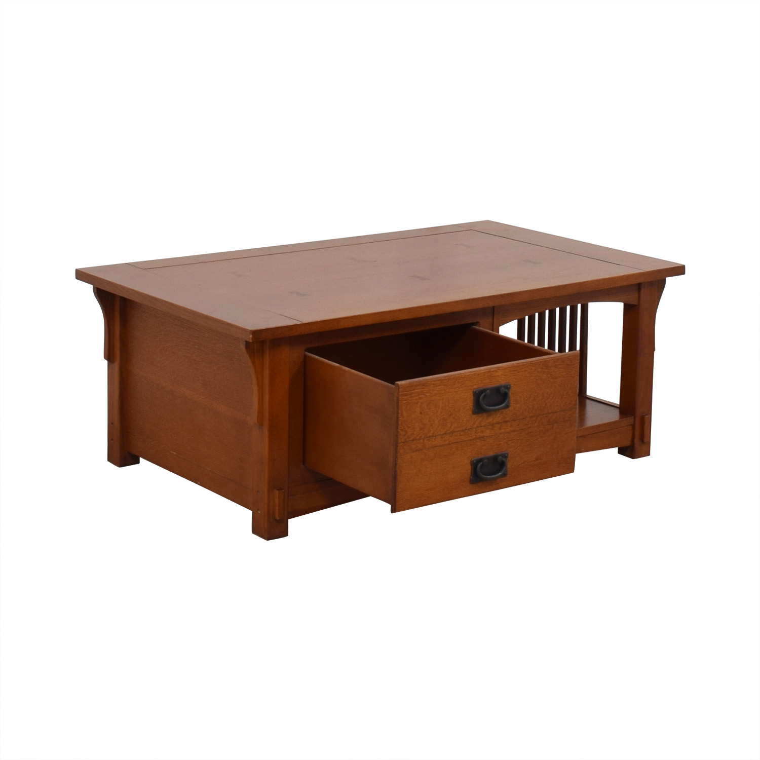 Mission Style Wood Single Drawer Coffee Table