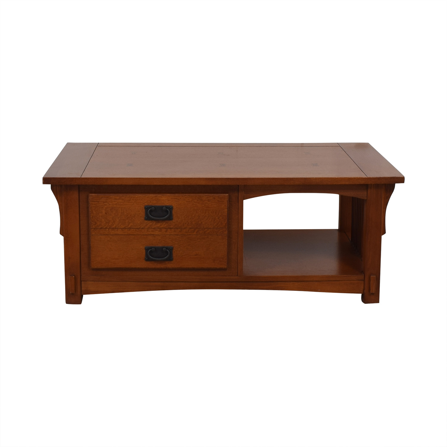 Mission Style Wood Single Drawer Coffee Table second hand