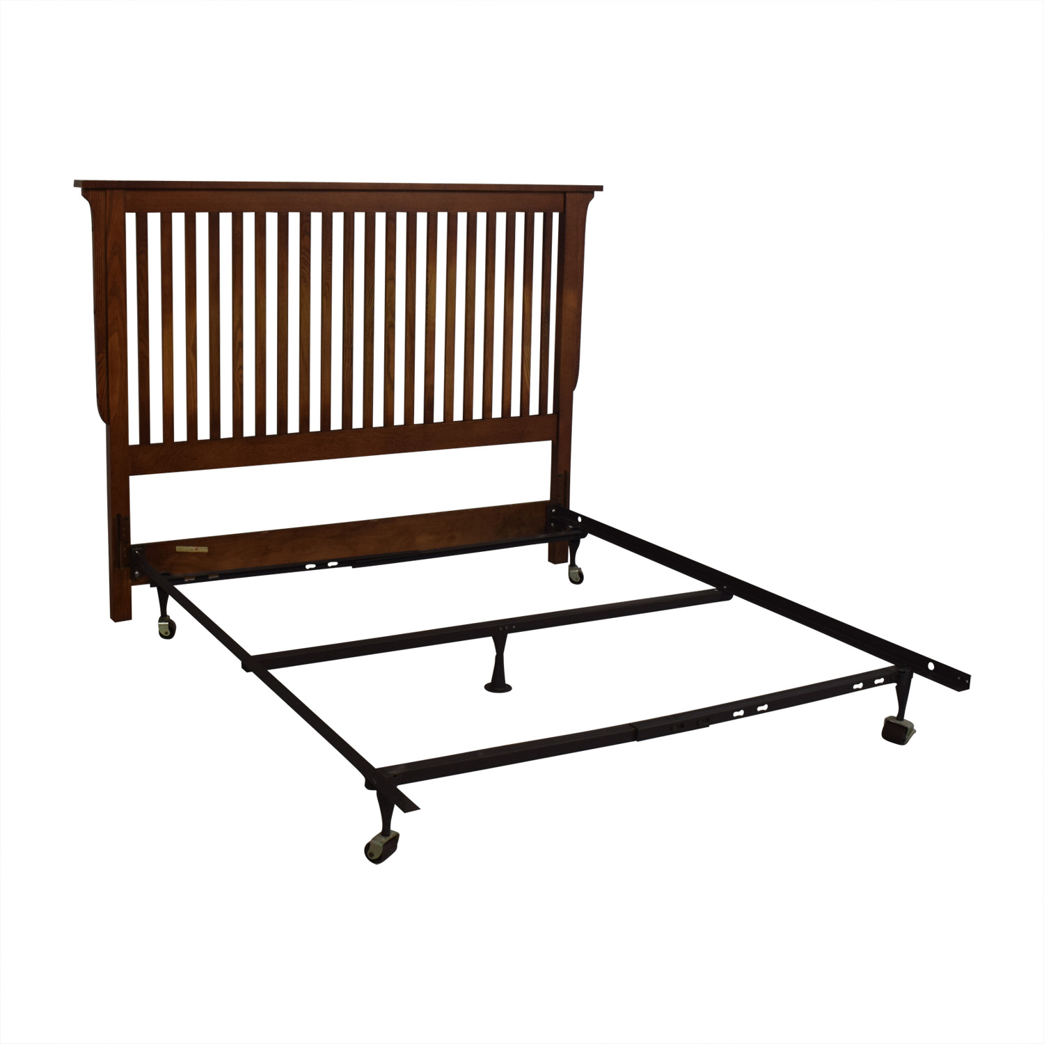 Bassett Furniture Mission Wood Headboard and Metal Base Full Bed Frame / Beds