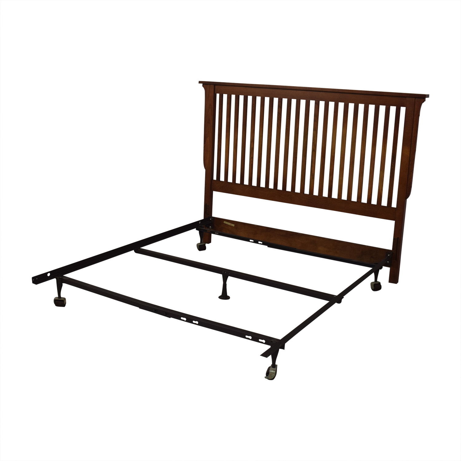 shop Bassett Furniture Mission Wood Headboard and Metal Base Full Bed Frame Bassett Furniture Beds