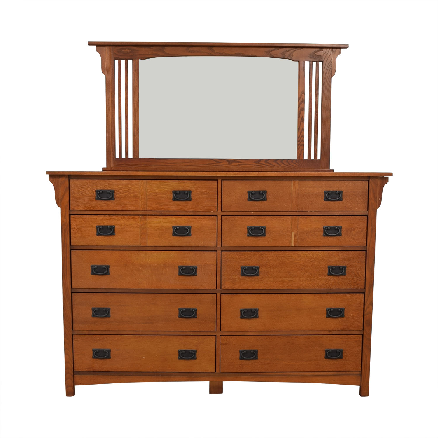 Bassett Furniture Bassett Furniture Kingston Prairie Ten-Drawer Dresser with Mirror on sale