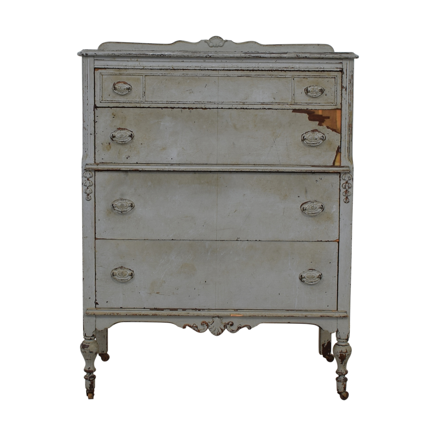 Distressed Four-Drawer Dresser Storage