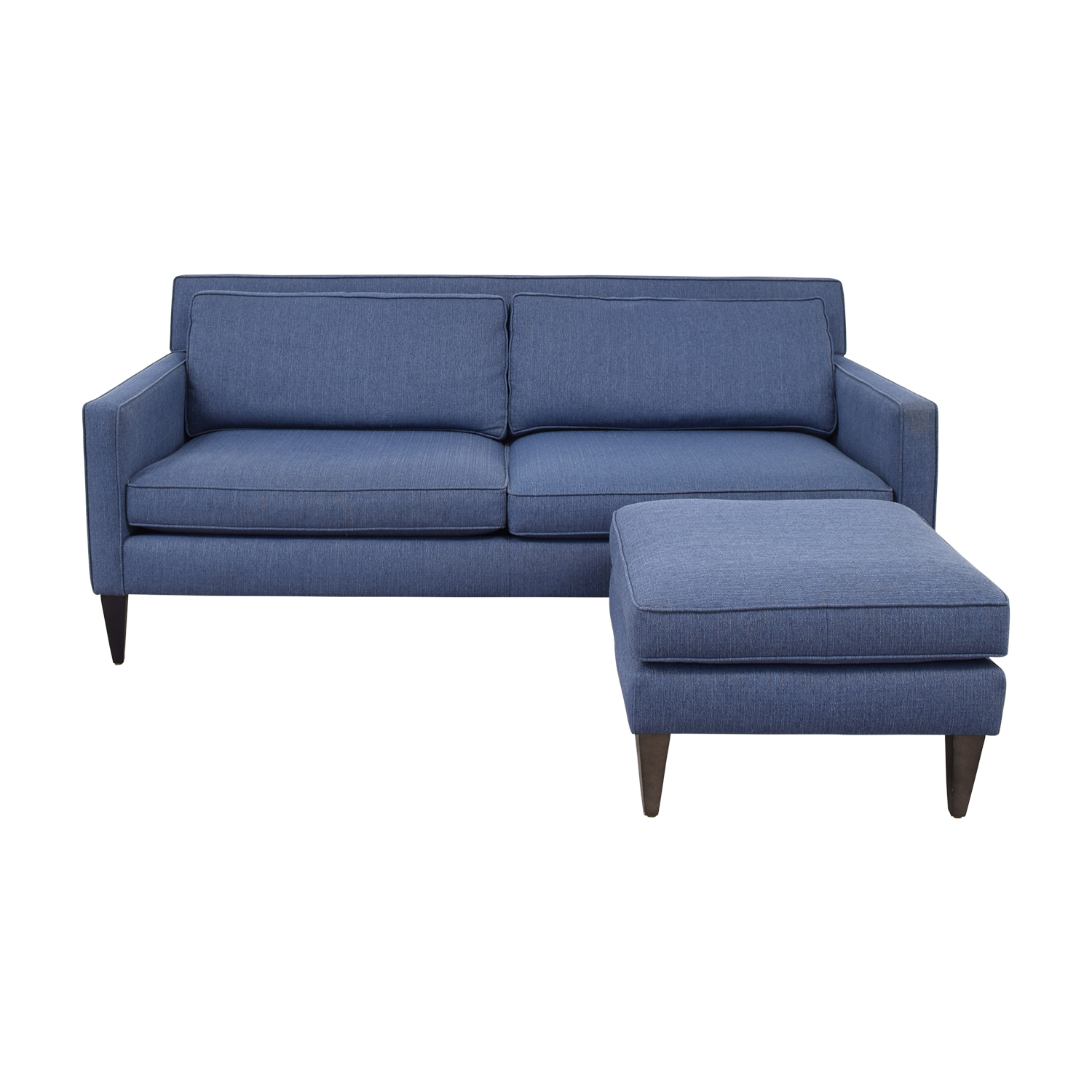 Crate & Barrel Crate & Barrel Rochelle Blue Two-Cushion Sofa and Ottoman nj