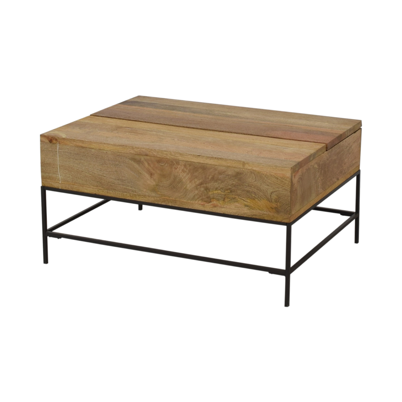 West Elm West Elm Industrial Storage Pop-Up Coffee Table dimensions