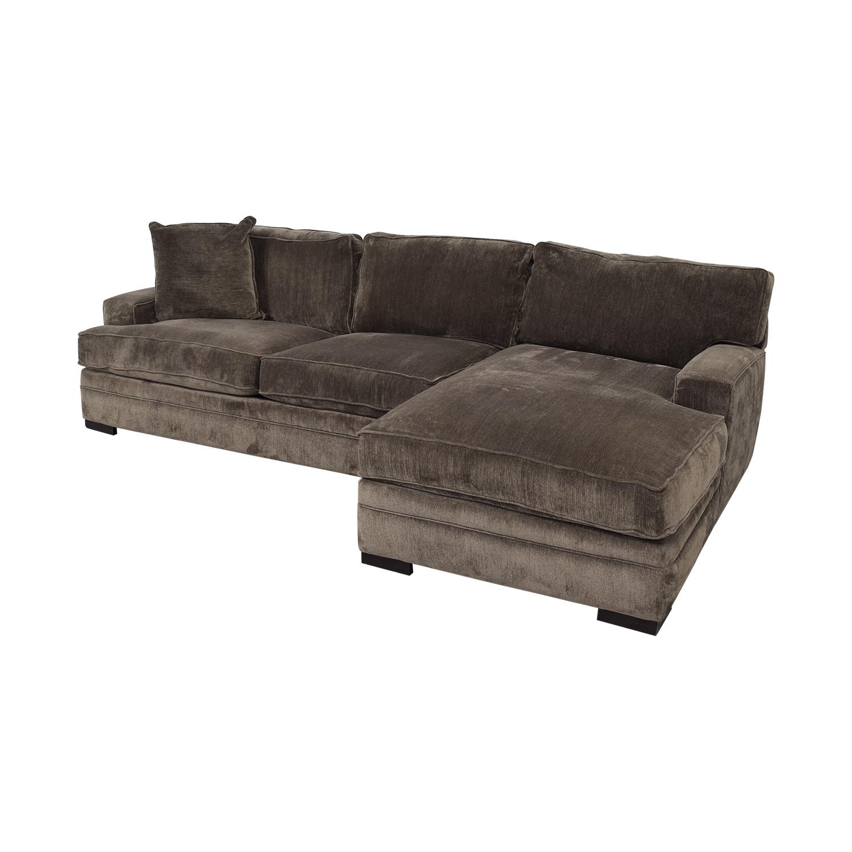 Macy's Macy's Teddy Brown Two Cushion Left Arm Sofa for sale
