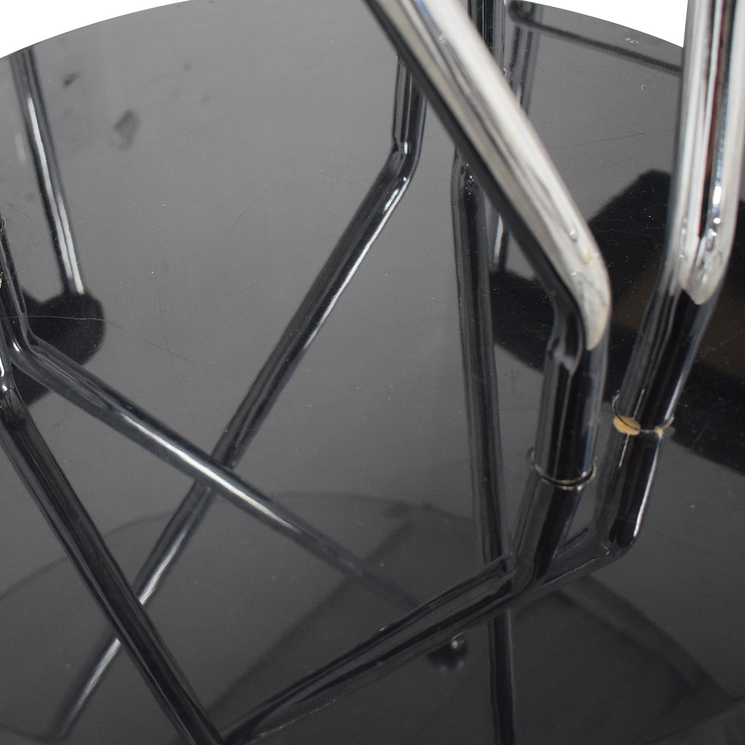 Black and Chrome Dining Set Clear glass