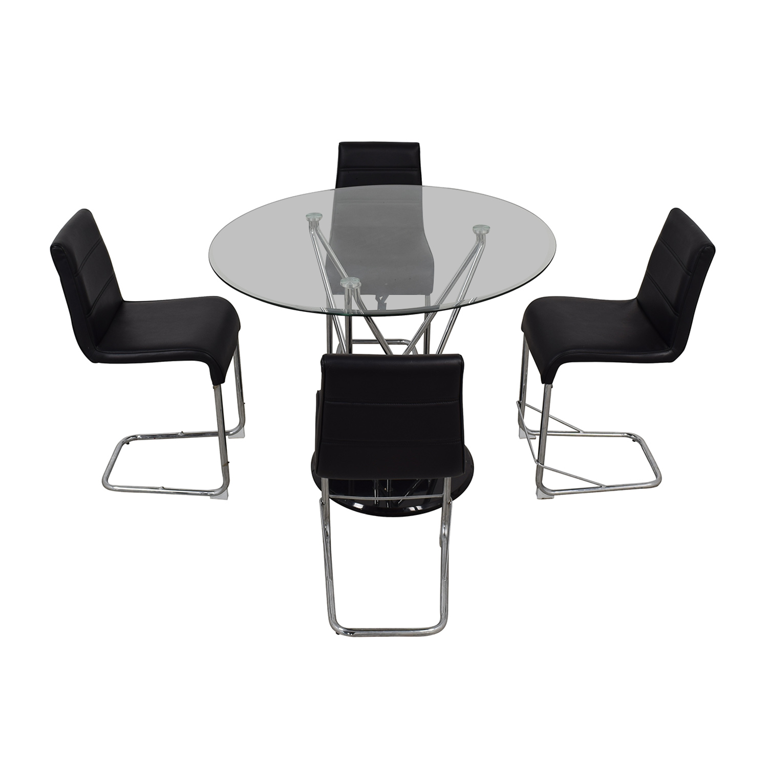 Black and Chrome Dining Set second hand
