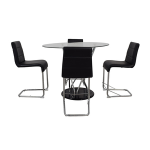 buy Black and Chrome Dining Set