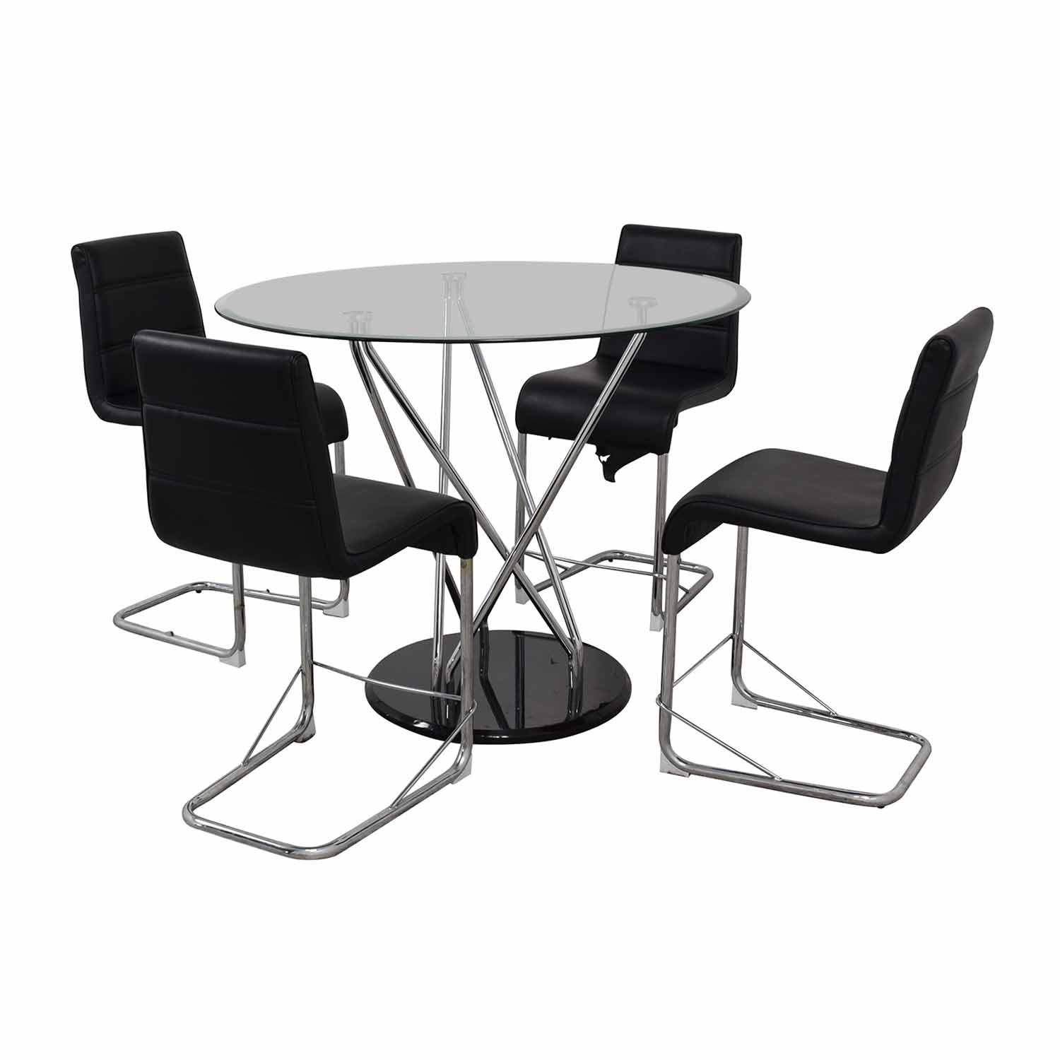 Black and Chrome Dining Set nyc