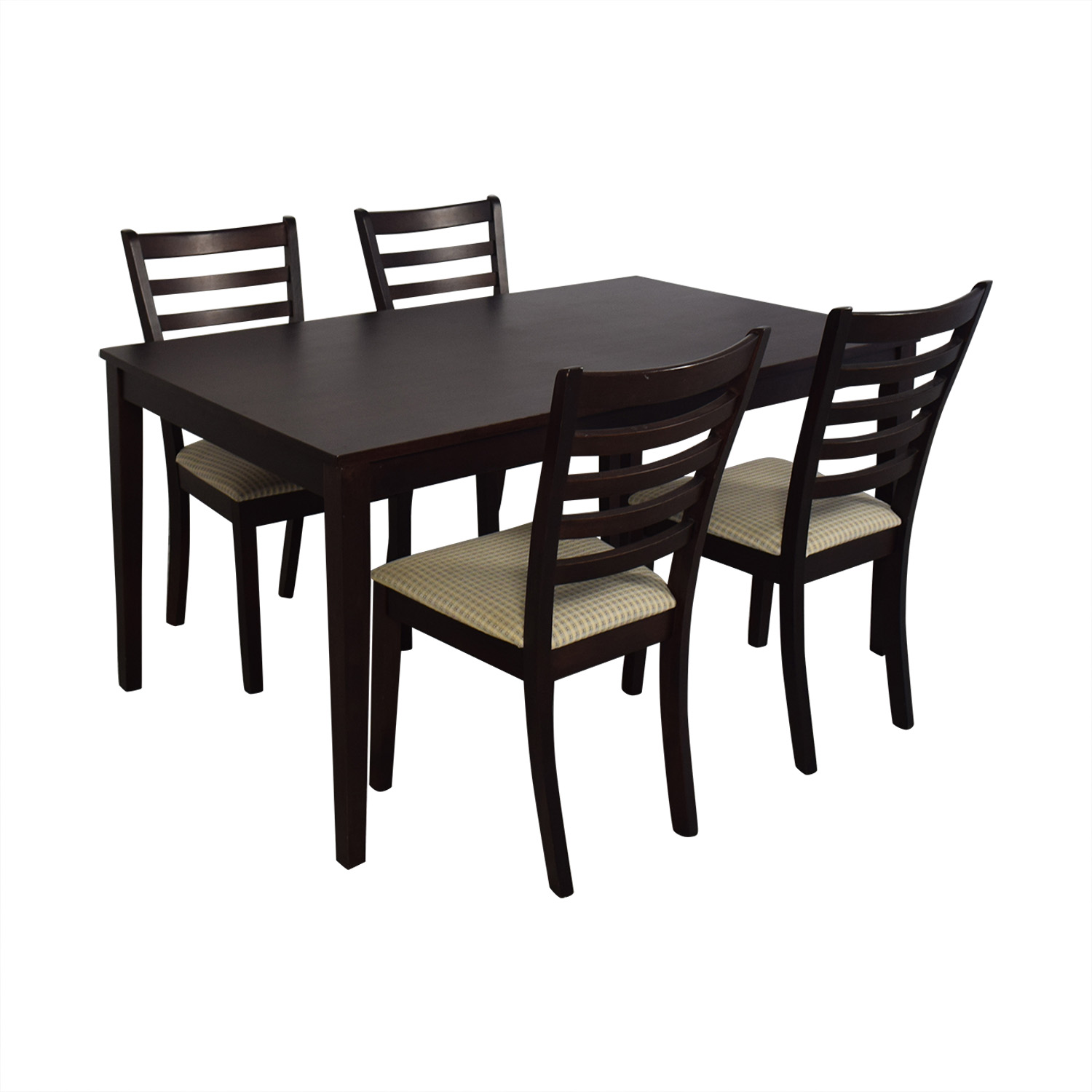 Dining Set with Beige Upholstered Chairs used
