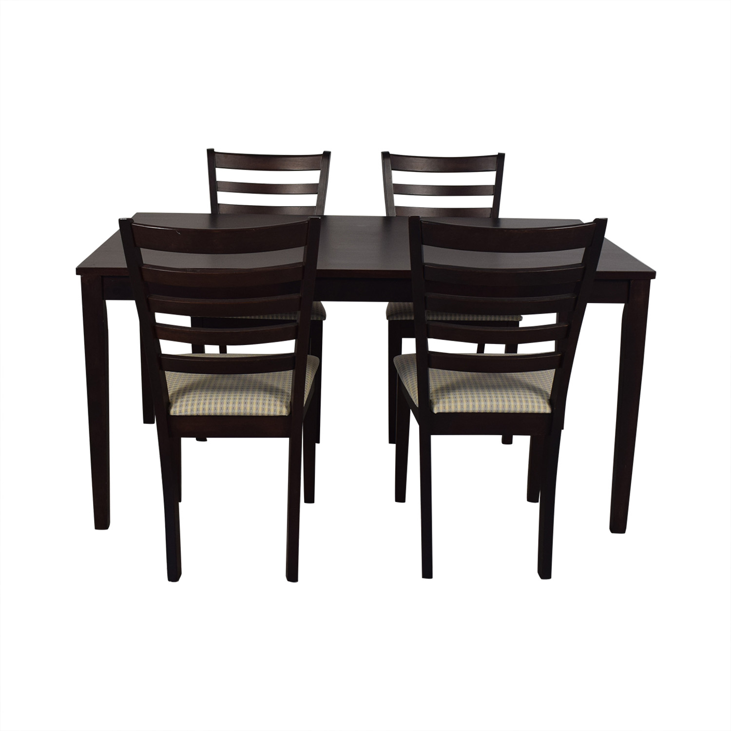 Dining Set with Beige Upholstered Chairs