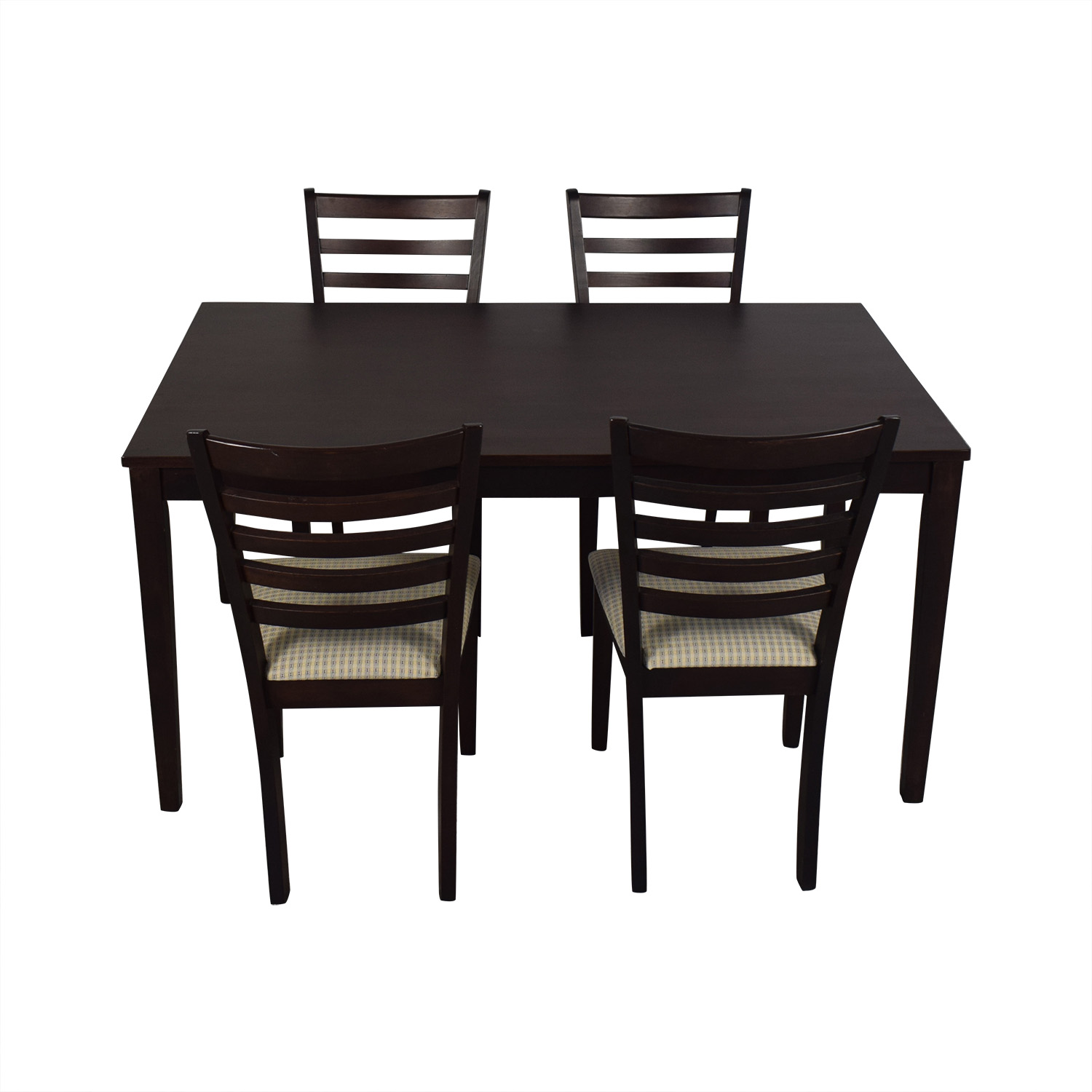 Dining Set with Beige Upholstered Chairs Tables