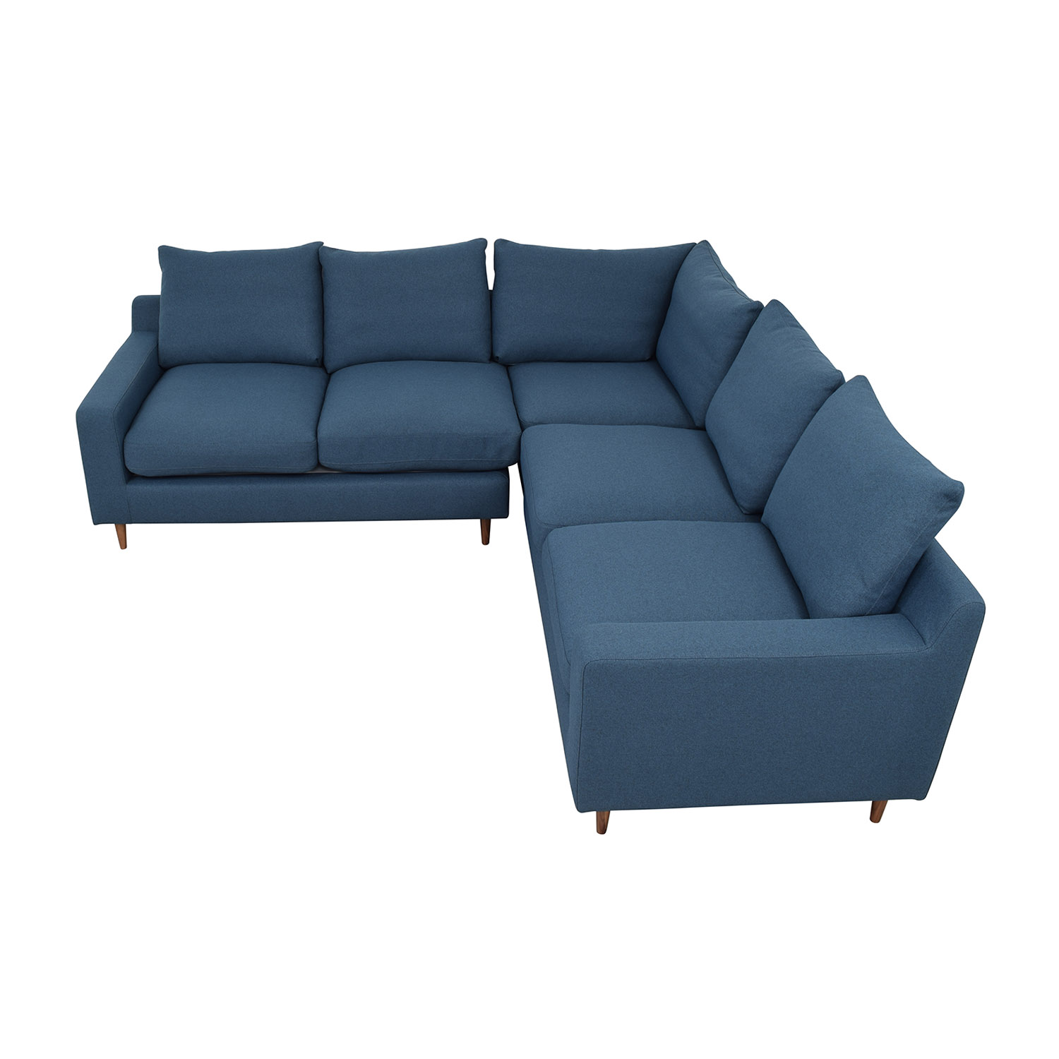 Interior Define Sloan Blue L-Shaped Sectional used