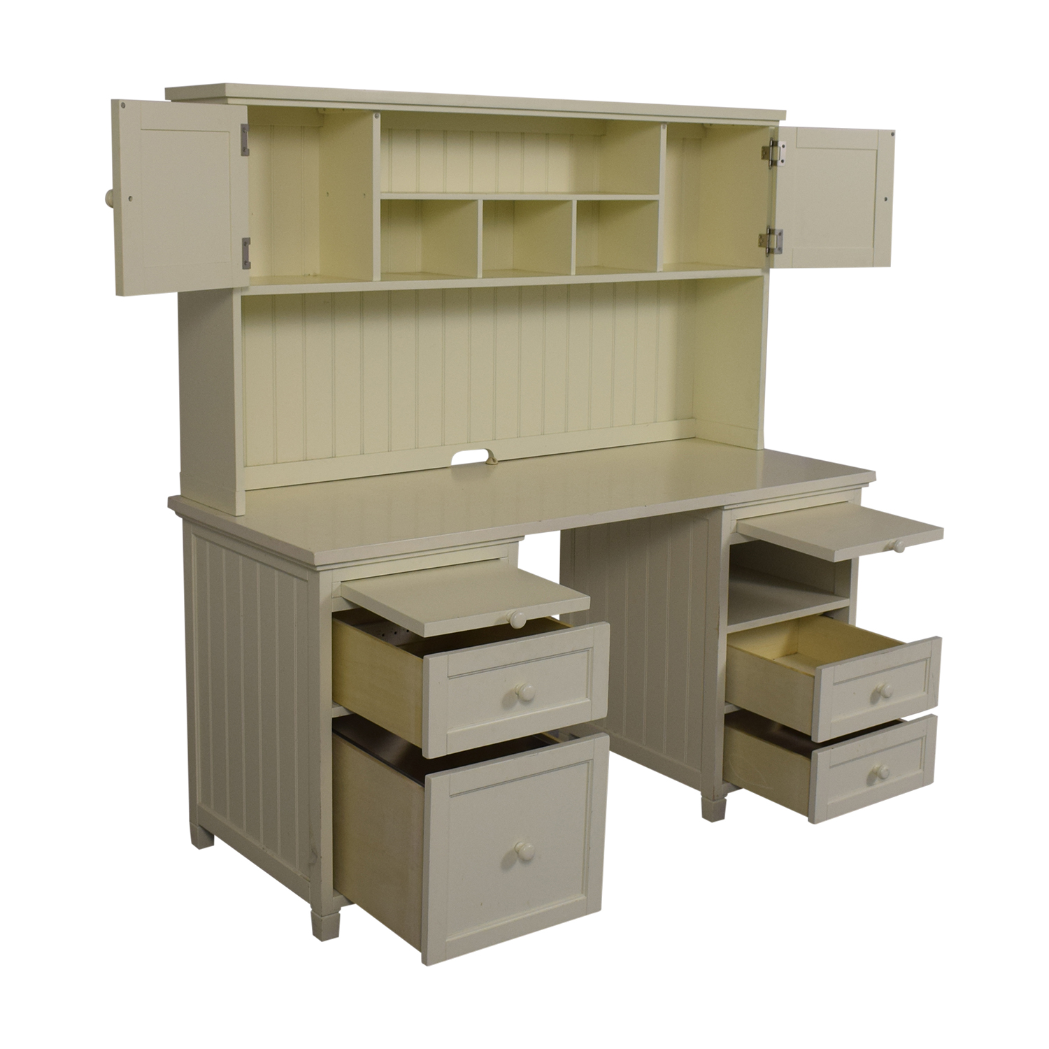 Pottery Barn Teen White Four-Drawer Desk with Hutch / Tables
