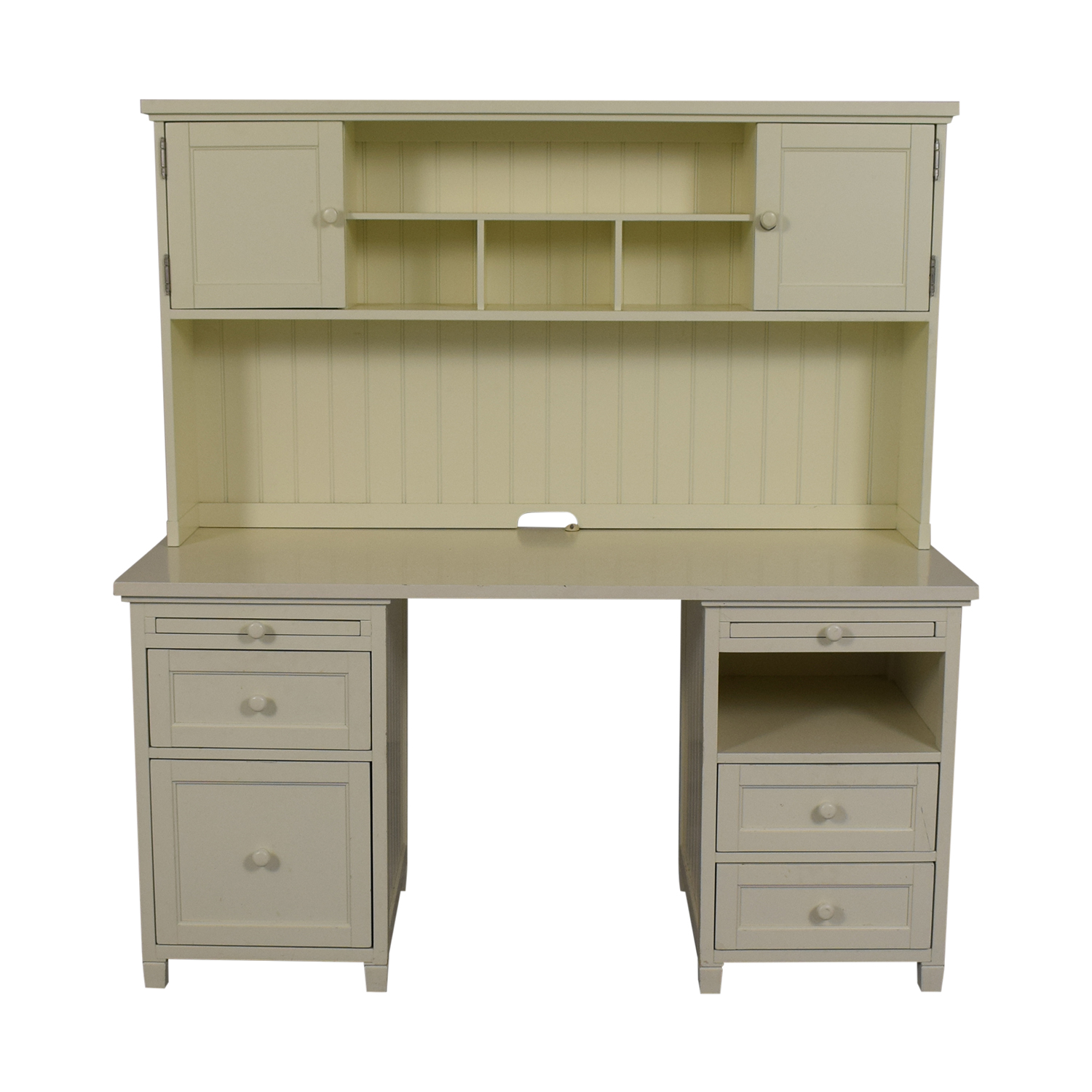 Pottery Barn Pottery Barn Teen White Four-Drawer Desk with Hutch Tables