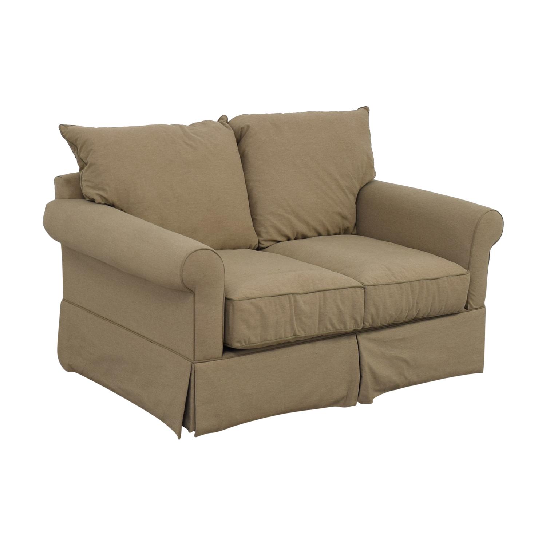 Macy's Beige Microfiber Two-Cushion Loveseat / Sofas