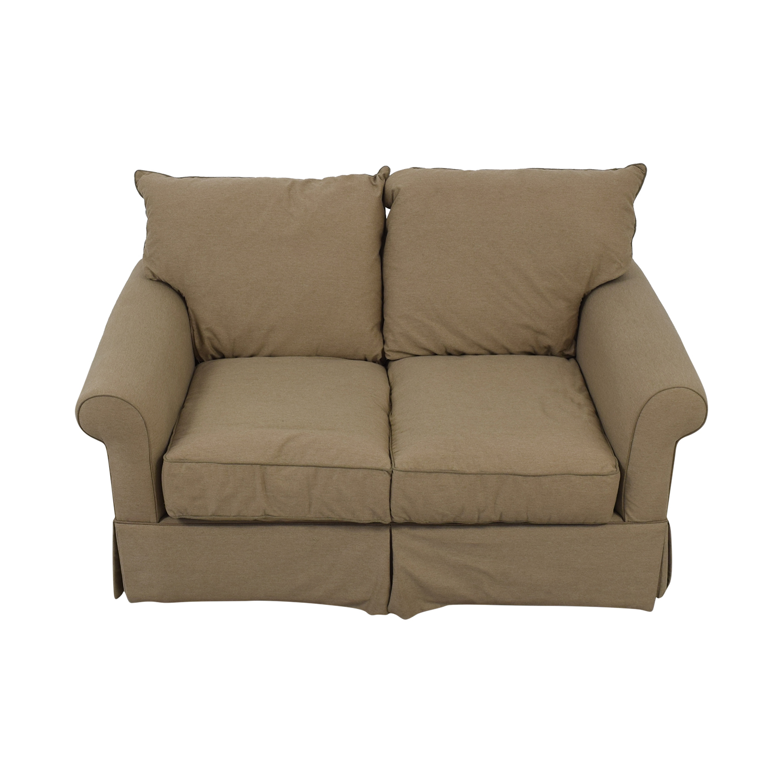 Macy's Beige Microfiber Two-Cushion Loveseat sale