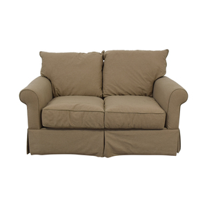 Macy's Macy's Beige Microfiber Two-Cushion Loveseat discount