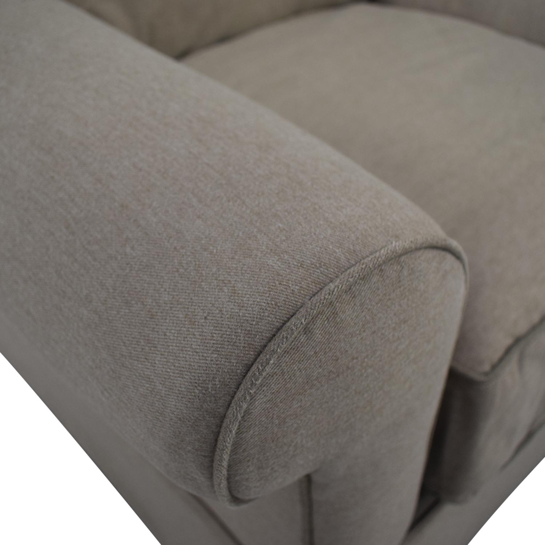 Macy's Macy's Beige Microfiber Two-Cushion Loveseat nyc