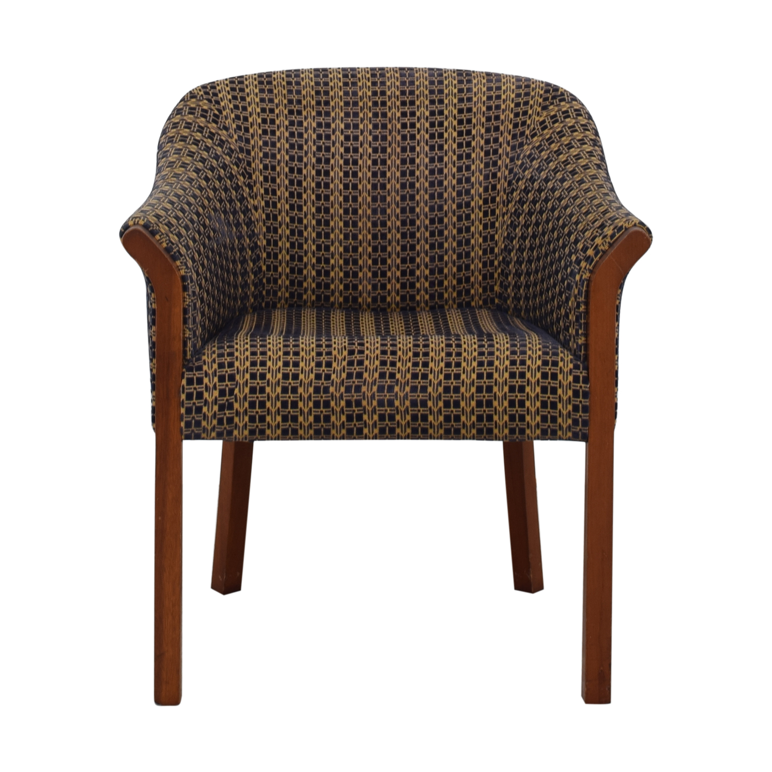 Blue and Gold Upholstered Accent Chair used