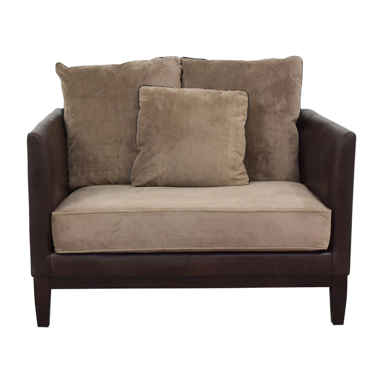 Bernhardt Two-Tone Brown and Beige Accent Chair sale