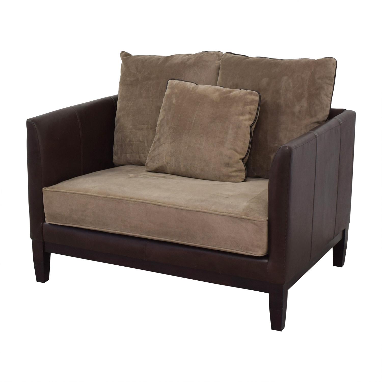 Bernhardt Bernhardt Two-Tone Brown and Beige Accent Chair nj