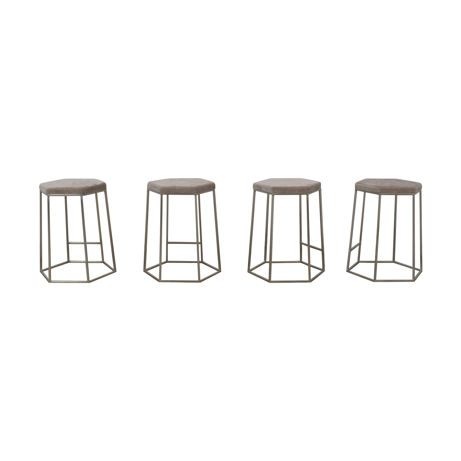 CB2 CB2 Hex Champagne Grey Bar Stools for sale