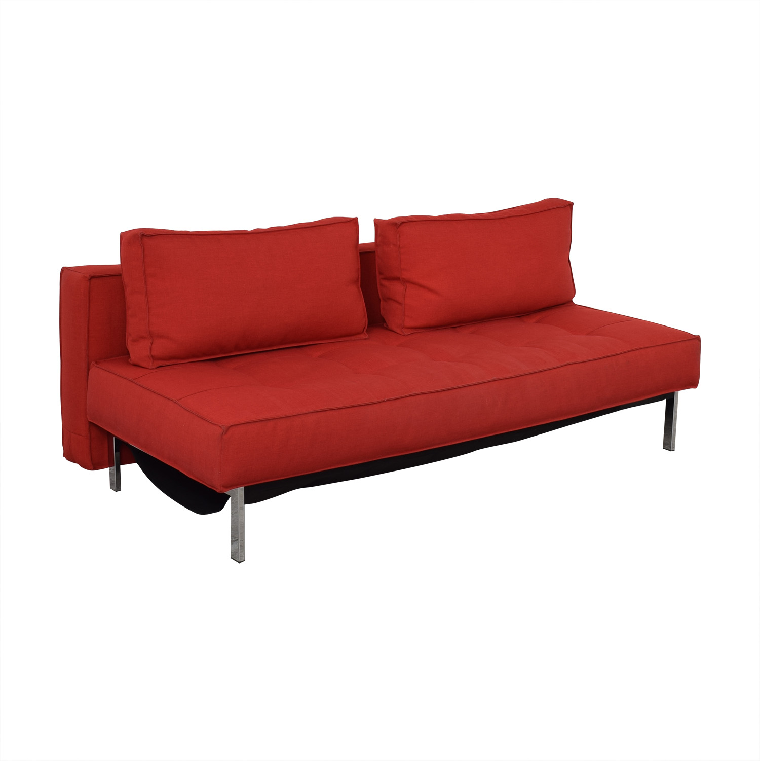 Innovation Living Red Tufted Twin Sleeper Sofa / Classic Sofas