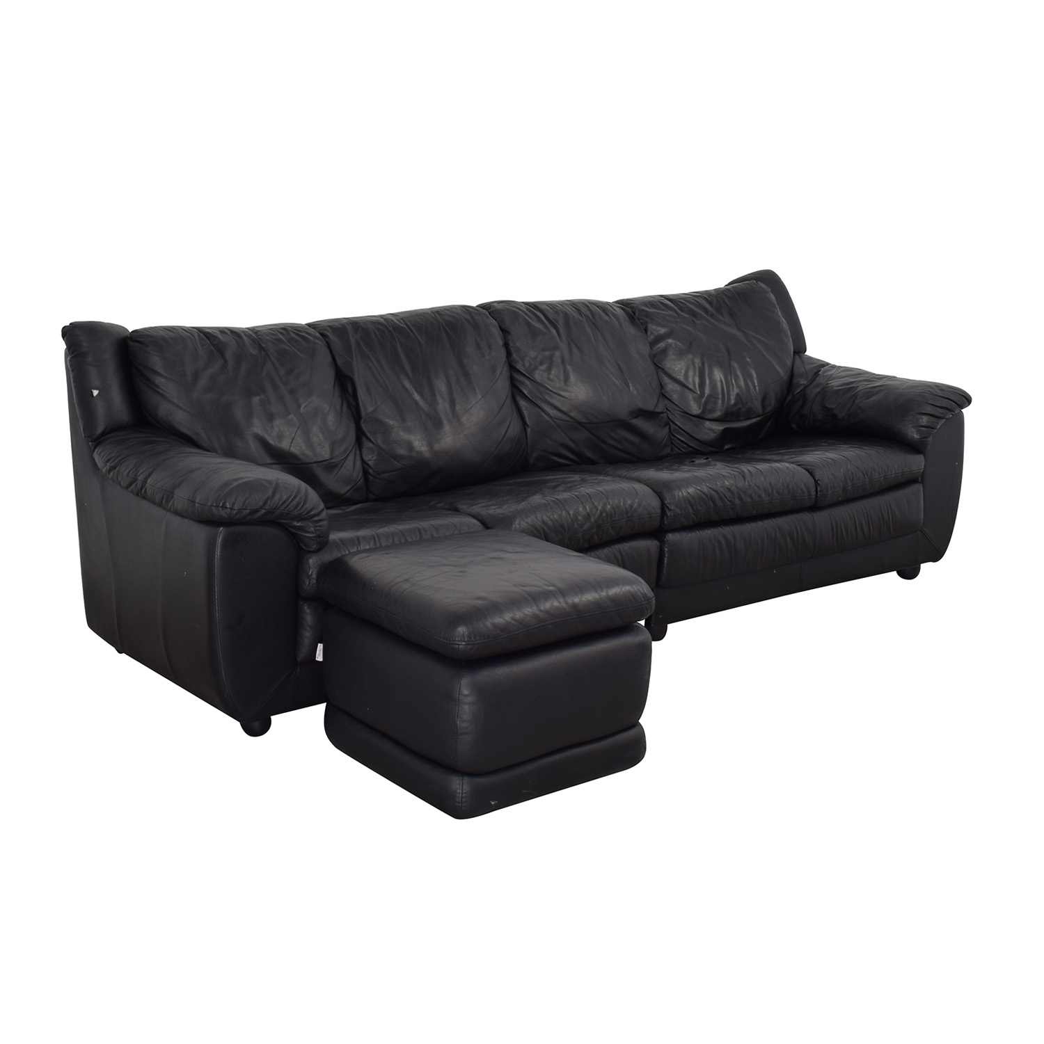 Nicoletti Home Black Four Cushion Couch with Ottoman Nicoletti Home