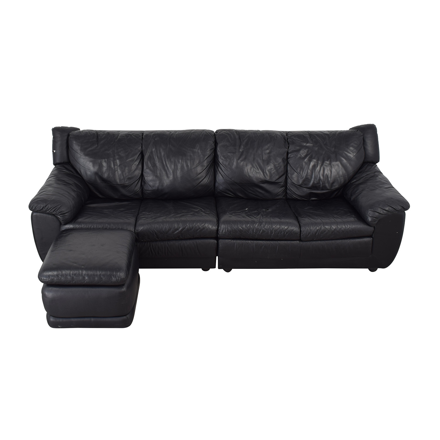 buy Nicoletti Home Black Four Cushion Couch with Ottoman Nicoletti Home Sectionals