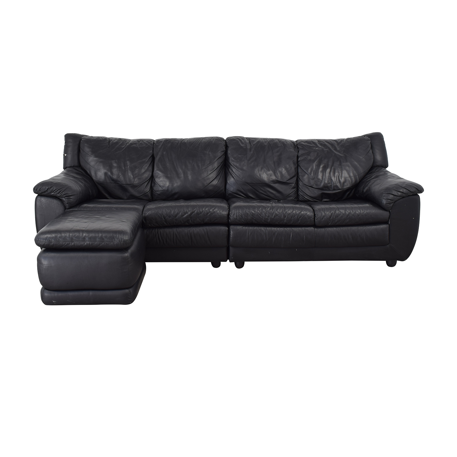 Nicoletti Home Nicoletti Home Black Four Cushion Couch with Ottoman Sectionals