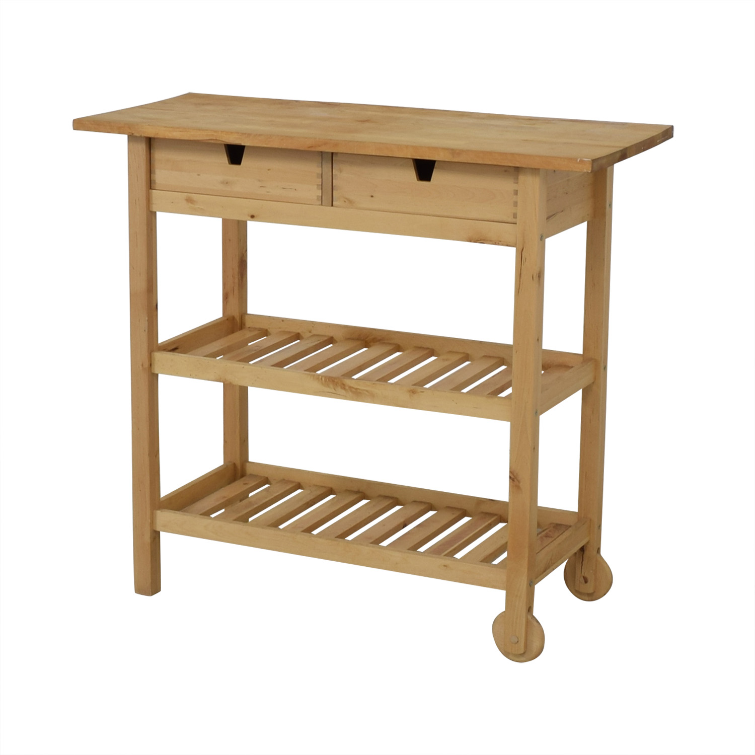 Two-Drawer Natural Wood Cart used