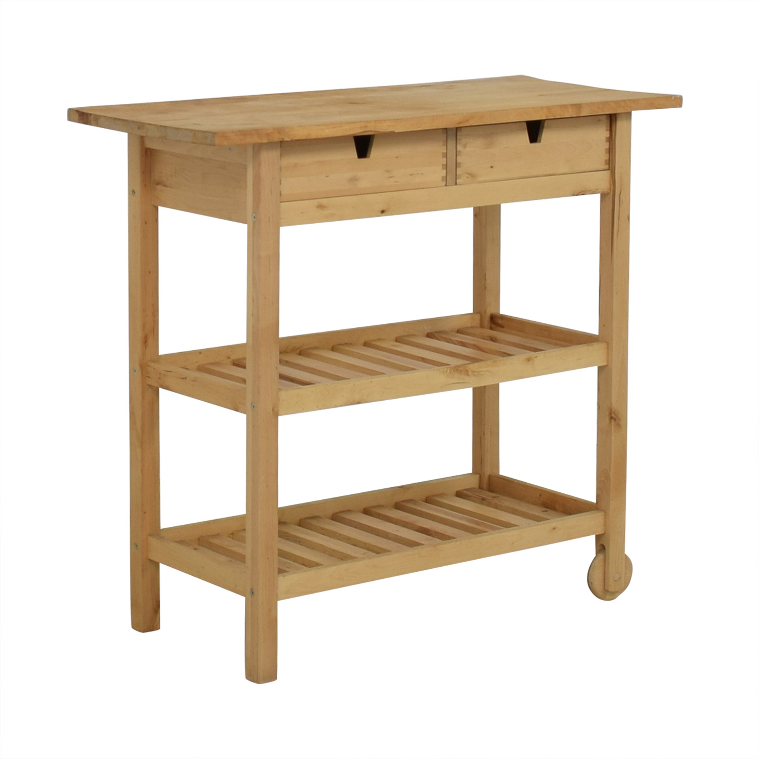 Two-Drawer Natural Wood Cart Tan