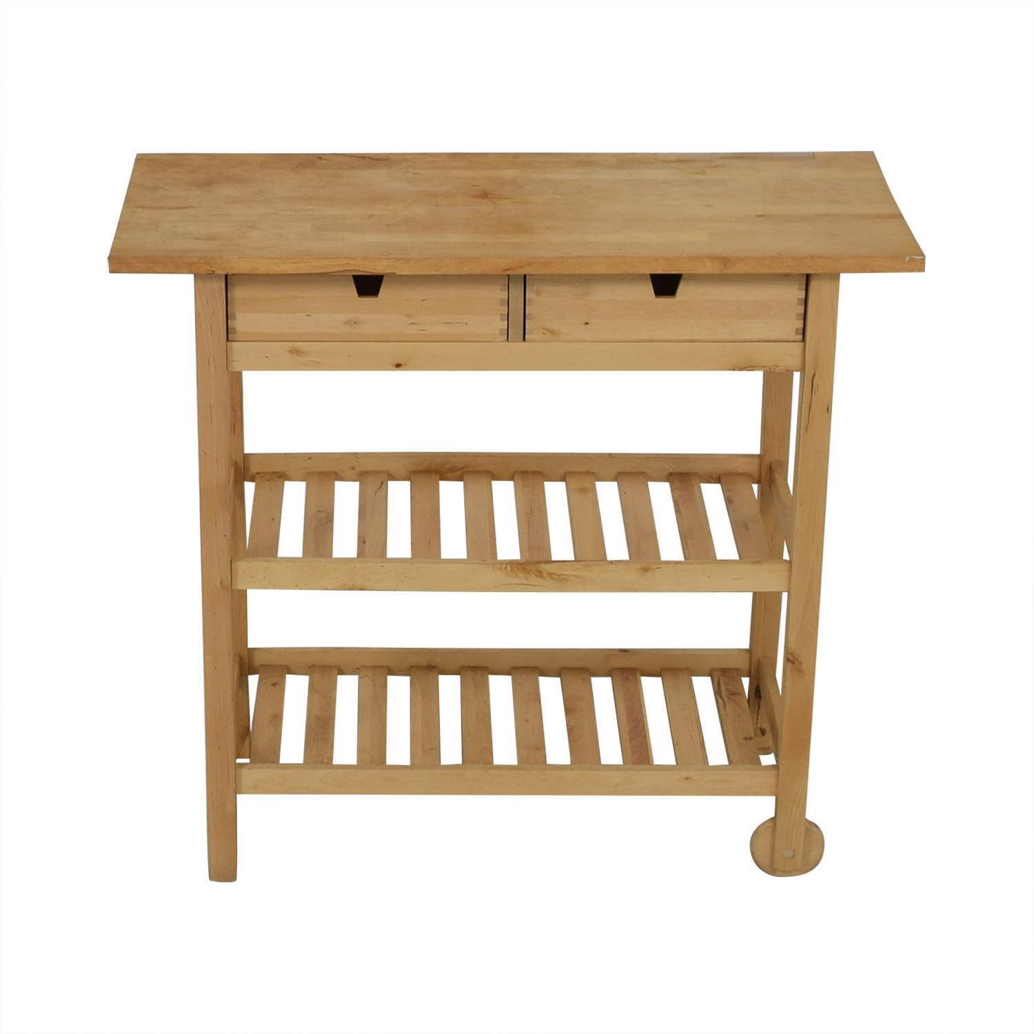 Two-Drawer Natural Wood Cart dimensions