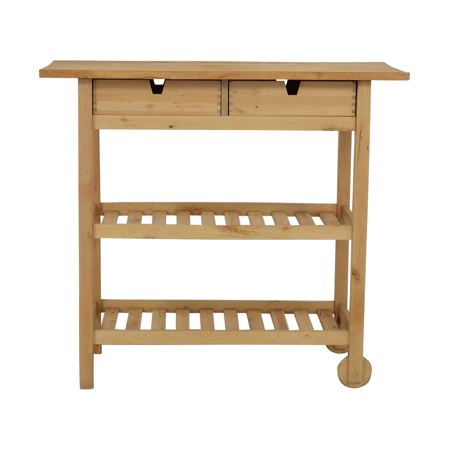 shop Two-Drawer Natural Wood Cart  Media Units