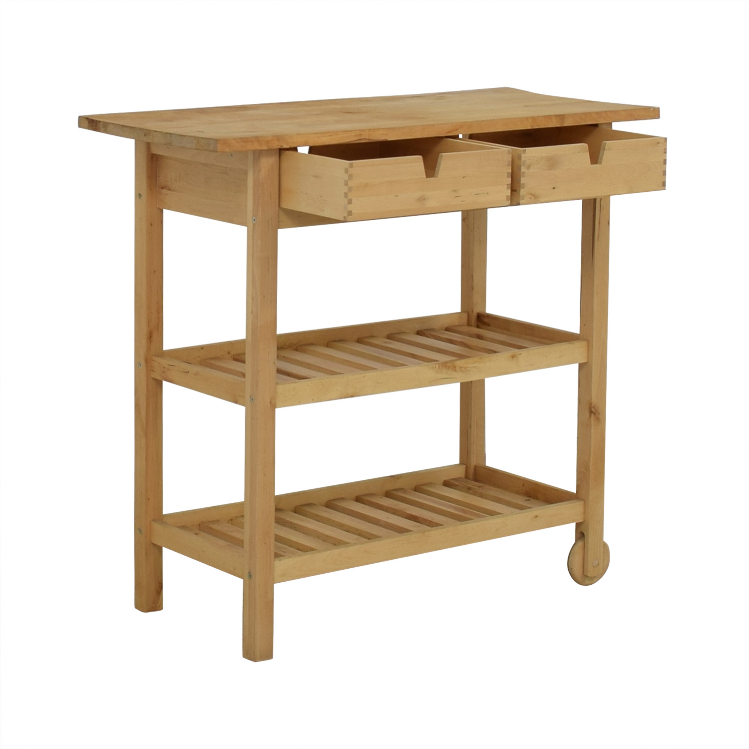 Two-Drawer Natural Wood Cart Media Units