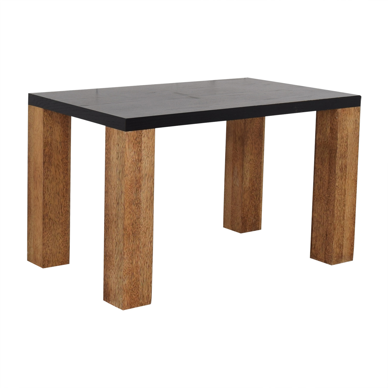buy Custom Brazilian Palm Wood and Black Top Dining Table