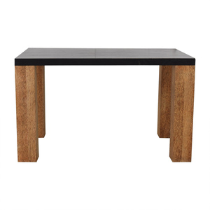 shop Custom Brazilian Palm Wood and Black Top Dining Table