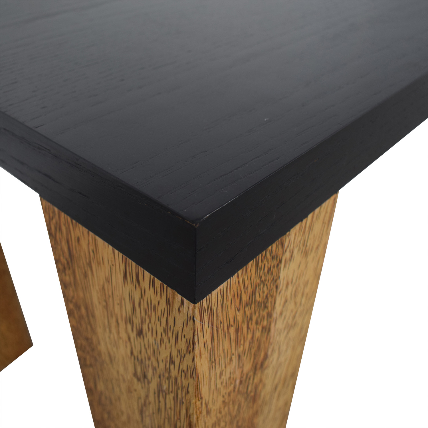 Custom Brazilian Palm Wood and Black Top Dining Table / Tables