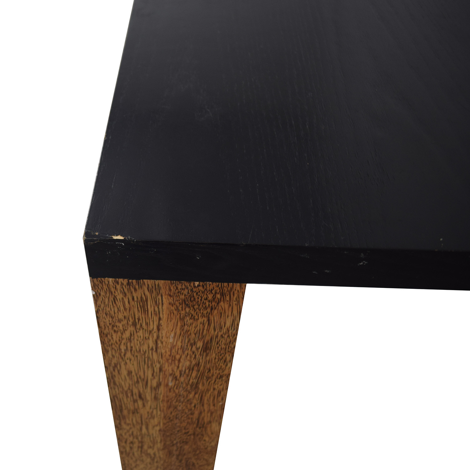 Custom Brazilian Palm Wood and Black Top Dining Table used
