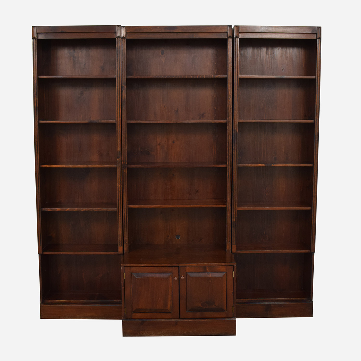 Three Bookshelves With Cabinet Bookcases Shelving