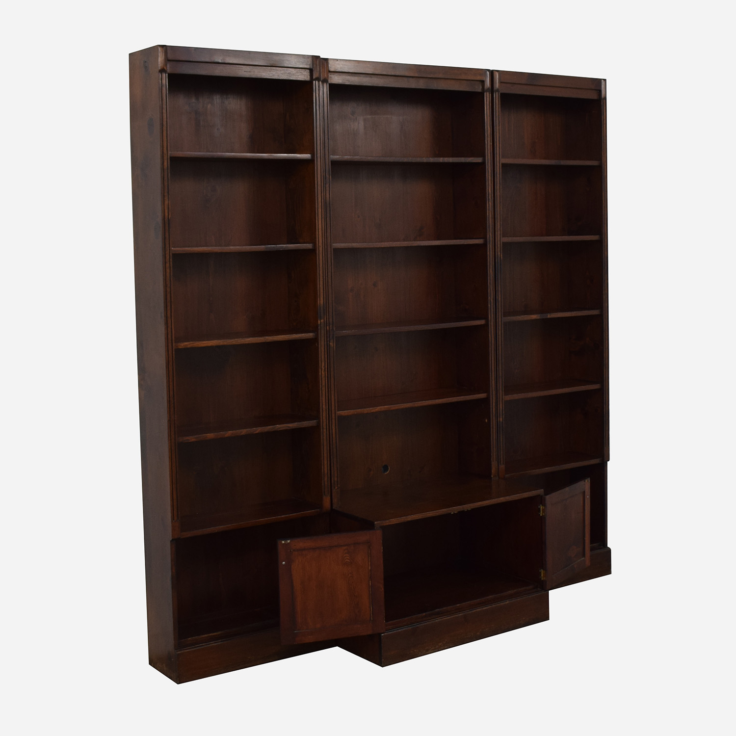 Three Bookshelves With Cabinet / Bookcases & Shelving