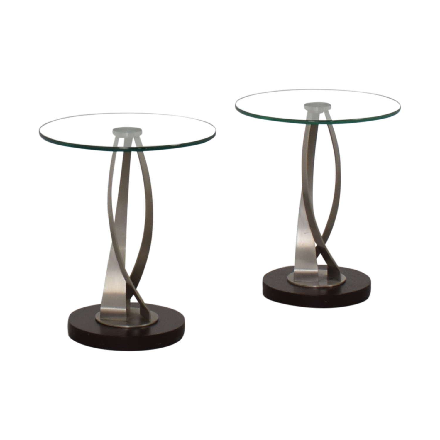 Pier 1 Pier 1 Round Glass Side Tables for sale