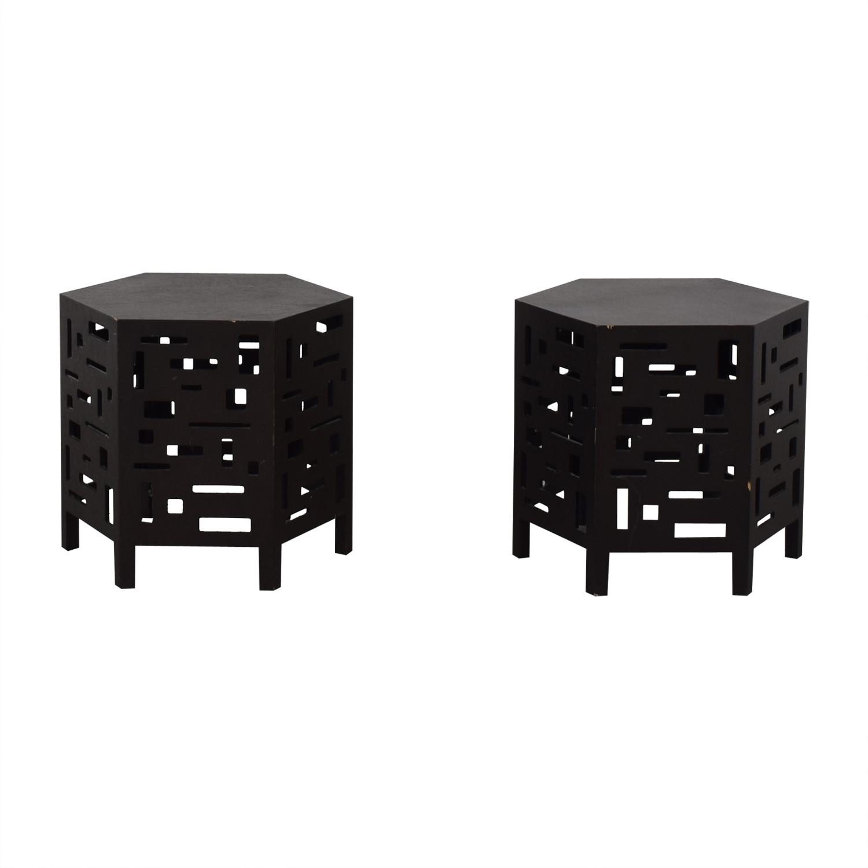 Crate & Barrel Crate & Barrel Black Octagon Cutout Side Tables second hand