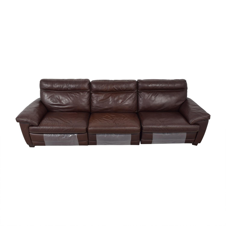 shop Natuzzi Dark Brown Power Reclining Sectional Sofa Natuzzi