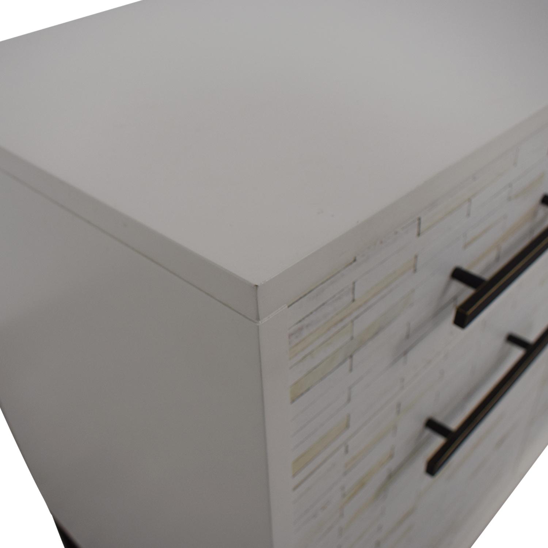 buy West Elm West Elm White Three-Drawer Wood Tiled Media Console online