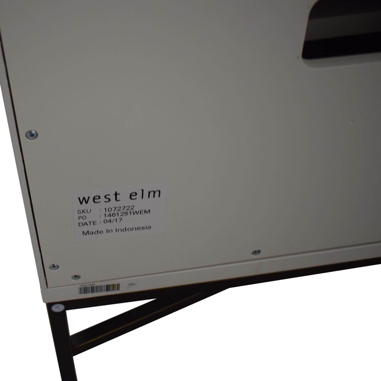 shop West Elm West Elm White Three-Drawer Wood Tiled Media Console online